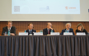 From left: Stefan Mittnik (LMU Munich), Paul Robinson (Bank of England), Hans-Helmut Kotz (SAFE), Aurel Schubert (ECB) and Loriana Pelizzon (SAFE)
